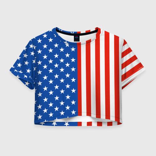 Женская футболка Crop-top 3D Американский Флаг