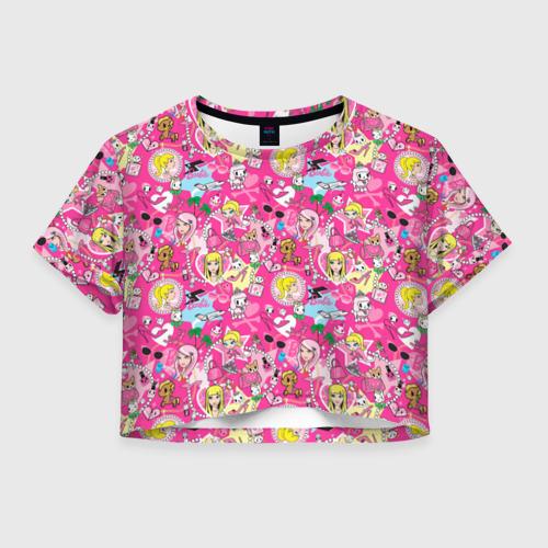 Женская футболка Crop-top 3D Barbie and Tokidoki