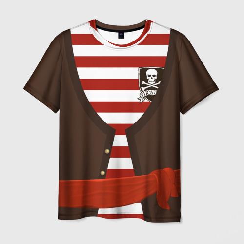Мужская футболка 3D Костюм пирата в красную полоску