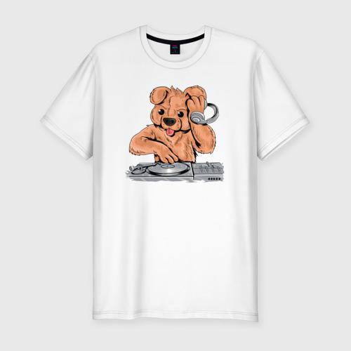 Мужская футболка хлопок Slim DJ Медведь