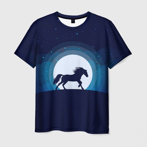 Мужская футболка 3D Лошадь под луной