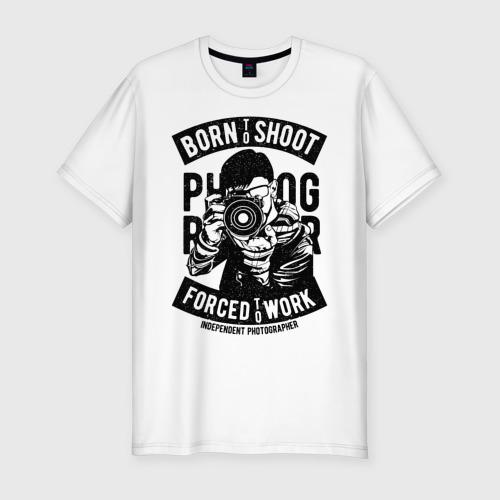 Мужская футболка хлопок Slim born to shoot