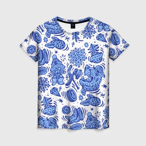 Женская футболка 3D Сибирская гжель