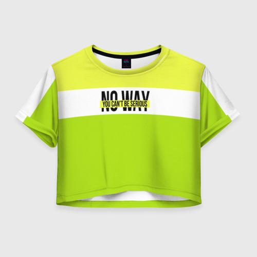 Женская футболка Crop-top 3D Serious зеленый