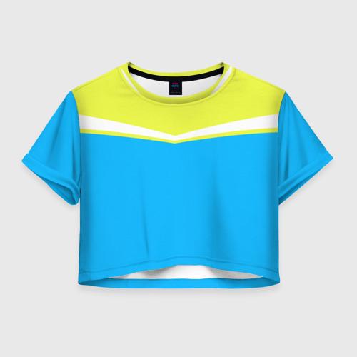 Женская футболка Crop-top 3D Угол голубой