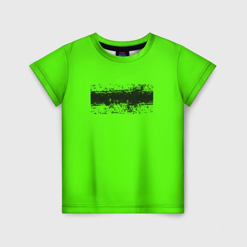 Детская футболка 3D Гранж зеленый