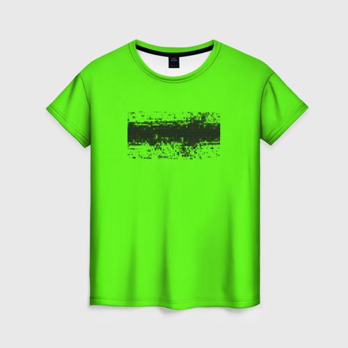 Женская футболка 3D Гранж зеленый