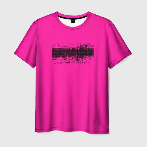 Мужская футболка 3D Гранж розовый