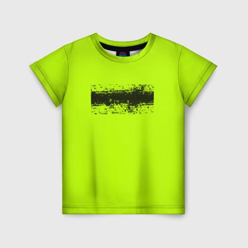 Детская футболка 3D Гранж салатовый