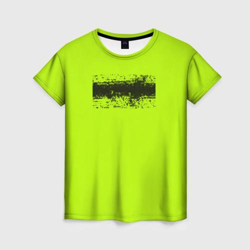 Женская футболка 3D Гранж салатовый