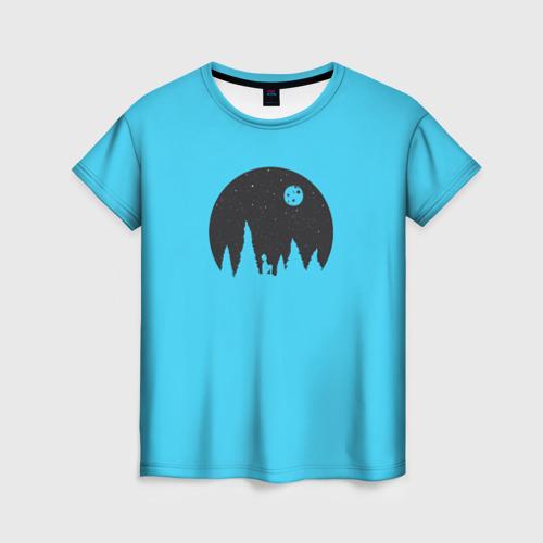 Женская футболка 3D Голубая луна