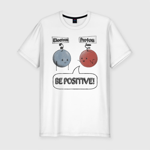 Мужская футболка хлопок Slim Будь на позитиве!