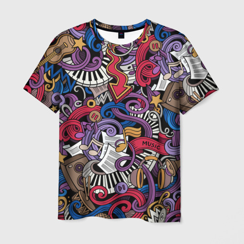 Мужская футболка 3D Music collage