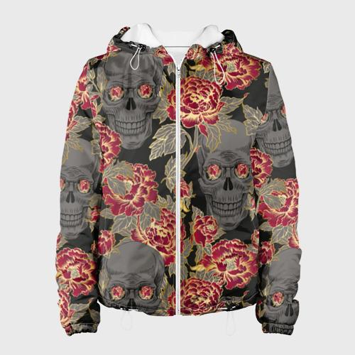 Женская куртка 3D Черепа и розы