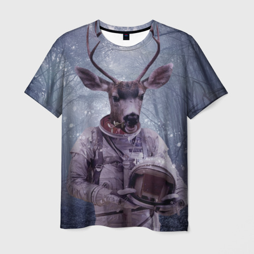 Мужская футболка 3D Олень космонавт