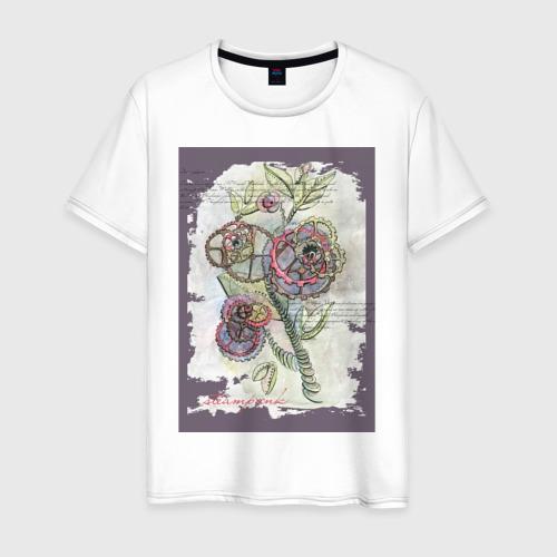 Мужская футболка хлопок Механический цветок