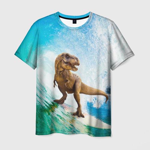 Мужская футболка 3D Серфер Юрского Периода