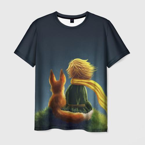 Мужская футболка 3D Маленький принц с лисой
