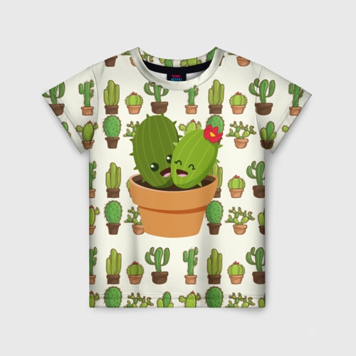 Детская футболка 3D Прикольные кактусы