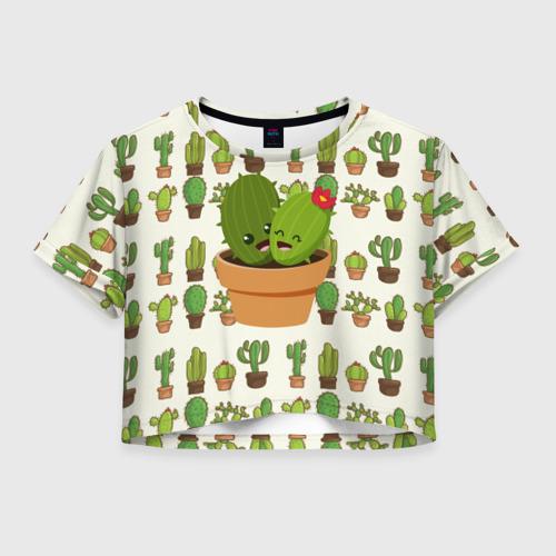 Женская футболка Crop-top 3D Прикольные кактусы