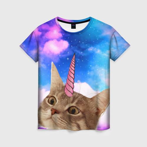 Женская футболка 3D Кот - единорог
