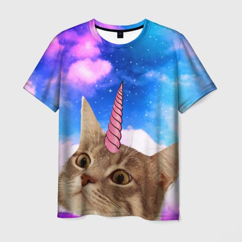 Мужская футболка 3D Кот - единорог