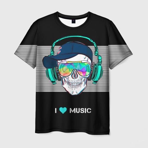 Мужская футболка 3D I like music