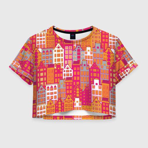 Женская футболка Crop-top 3D Город