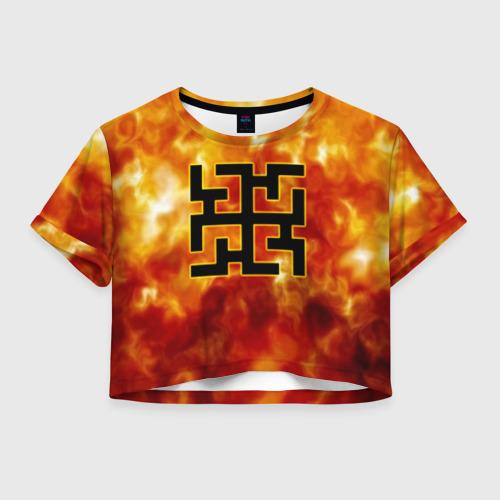Женская футболка Crop-top 3D символ духобор