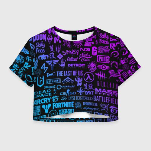 Женская футболка Crop-top 3D ЛОГОТИПЫ ИГР