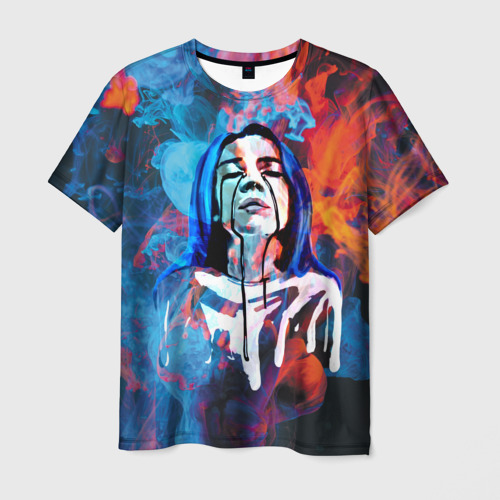 Мужская футболка 3D Billie Eilish Smoke