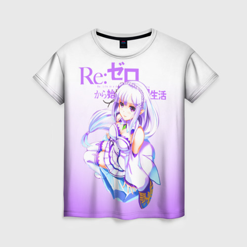 Женская футболка 3D Re:Zero. Эмилия