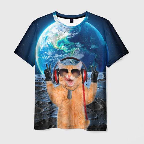 Мужская футболка 3D Кот на луне