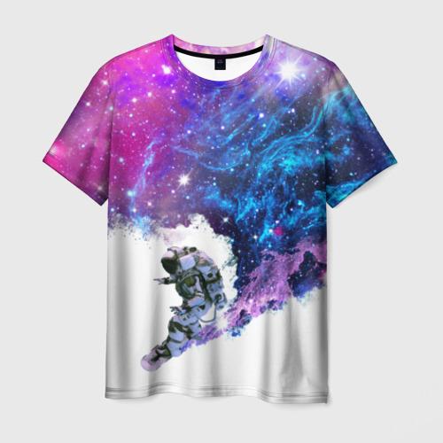 Мужская футболка 3D Космический сноуборд