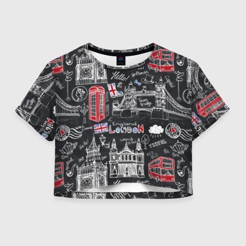 Женская футболка Crop-top 3D Лондон