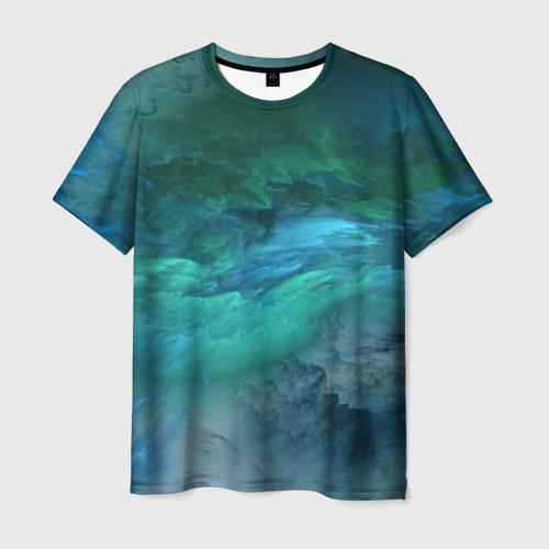 Мужская футболка 3D Изумрудные Облака