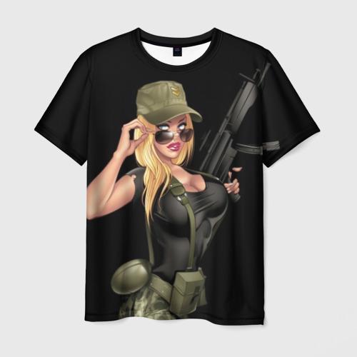Мужская футболка 3D Sexy army girl