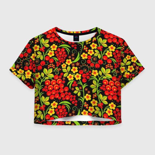 Женская футболка Crop-top 3D Хохлома