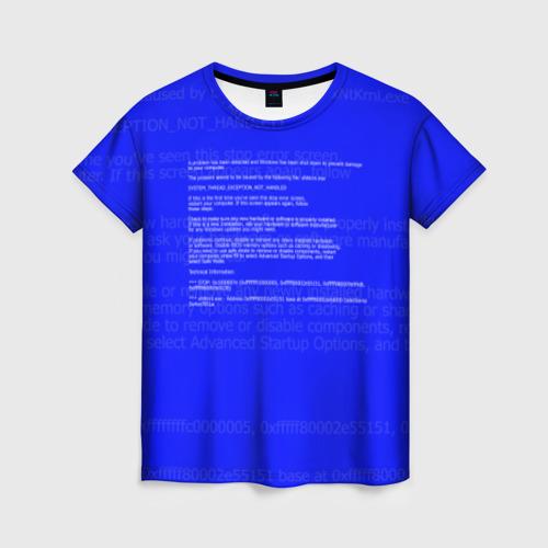 Женская футболка 3D СИНИЙ ЭКРАН СМЕРТИ