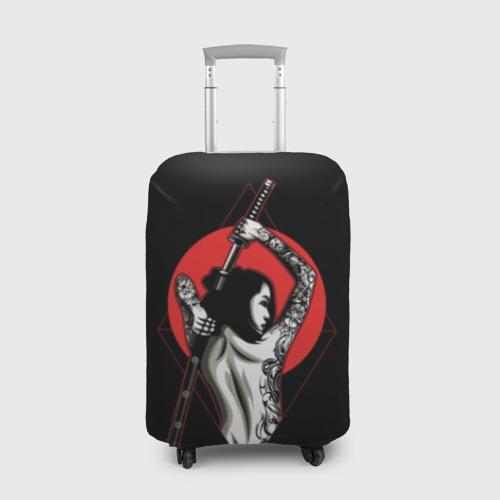 Чехол для чемодана 3D Девушка с мечом