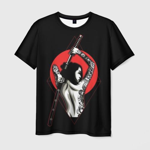 Мужская футболка 3D Девушка с мечом