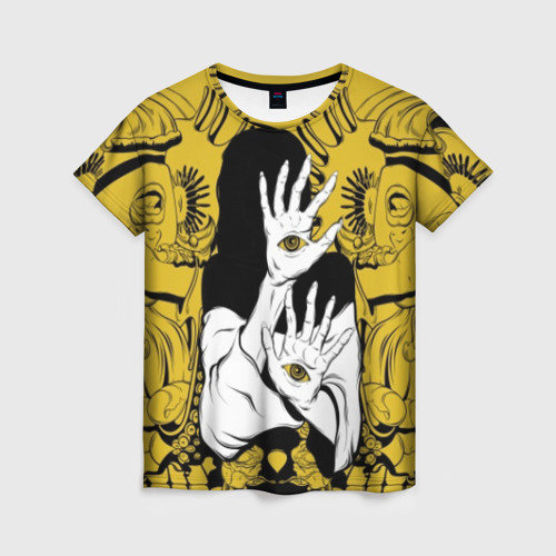 Женская футболка 3D Девушка с глазами на руках