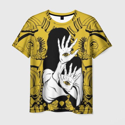Мужская футболка 3D Девушка с глазами на руках