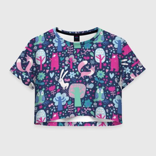 Женская футболка Crop-top 3D Лесные животные