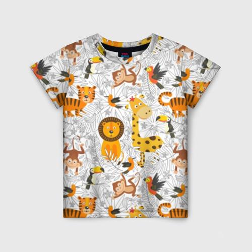 Детская футболка 3D Тропические животные