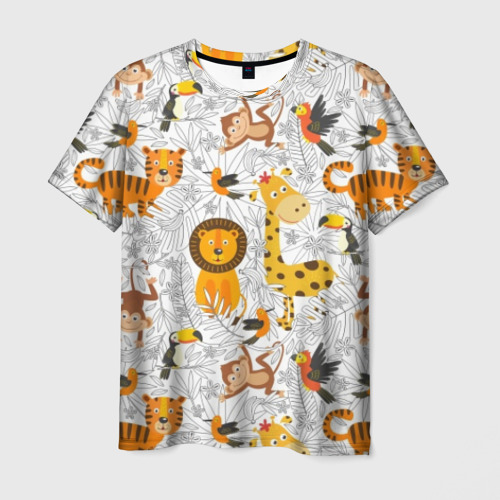 Мужская футболка 3D Тропические животные