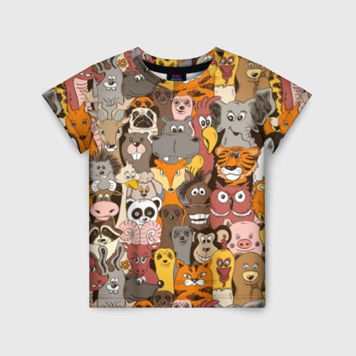Детская футболка 3D Прикольные зверушки