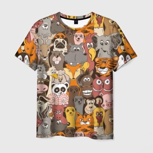 Мужская футболка 3D Прикольные зверушки