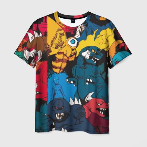 Мужская футболка 3D Годзилла