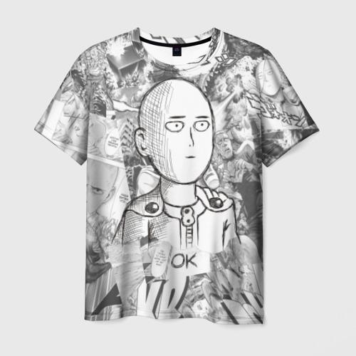Мужская футболка 3D Чернобелый Сайтама